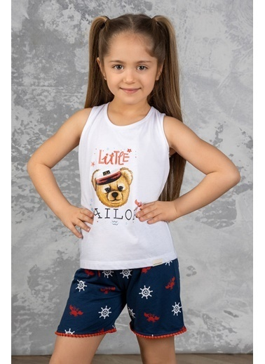 Katia & Bony Marine Teddy Bear Desenli Kız Çocuk şortlu Pijama Takımı - Beyaz Beyaz